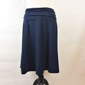 Lands end navy blue knit pull on midi skirt plus